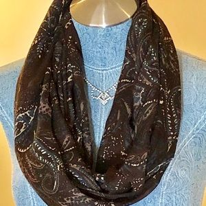 "Pretty Brown Paisley Infinity Scarf 68"" x 21"""